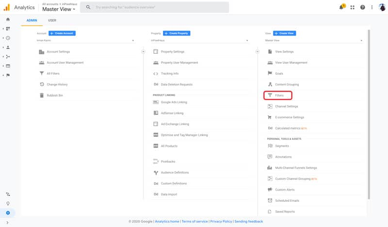 Google Analytics - Select Filters Under View Settings